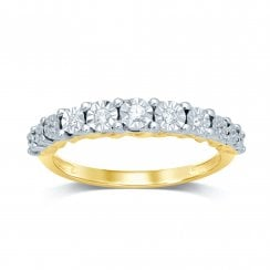 9ct yg 0.10ct diamond ring