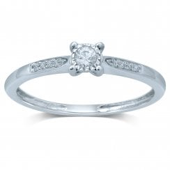 9ct yg 0.13ct diamond ring