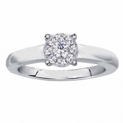 Silver perfect love 0.10ct diamond ring with a look of 0.33ct