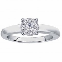Silver perfect love 0.15ct diamond ring with a look of 0.50ct