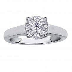 Silver perfect love 0.25ct diamond ring with a look of 0.75ct