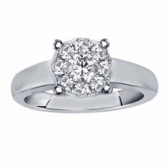 Silver perfect love 0.33ct diamond ring with a look of 1.00ct