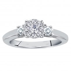 Silver perfect love 0.20ct diamond trilogy ring with a look of 0.50ct