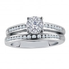 Silver perfect love 0.25ct diamond bridal ring with a look of 0.50ct