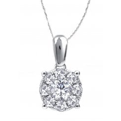 "Silver perfect love 0.25ct diamond pendant & 18"" chain with a look of 0.75ct"