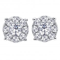 Silver perfect love 0.25ct diamond stud earringswith a look of 0.75ct