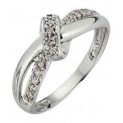 9ct WG 0.10ct diamond ring