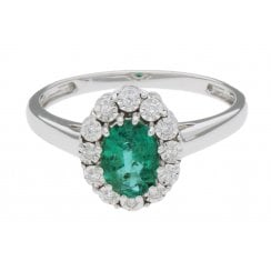 18ct wg 1.00ct emerald & 0.06ct diamond ring