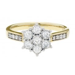 9ct YG 0.39ct Diamond Cluster Ring With Dia Set Shoulders