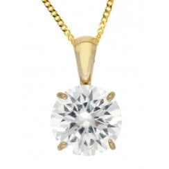 "9ct YG 8mm CZ Pendant & 18"" Chain"