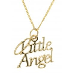 "9ct YG Little Angel Pendant & 18"" Chain"