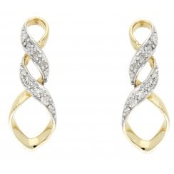 9ct Two Tone 0.12ct Diamond Set Earrings