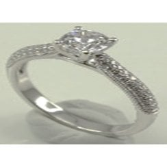 14ct WG 0.25ct Diamond Solitaire Ring With Diamond Set Shoulders