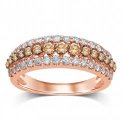 9ct Rose Gold 1.00ct Champagne & White Diamond Ring