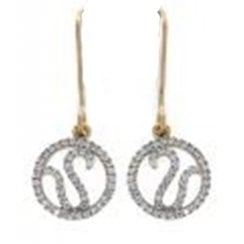 9ct yellow gold 0.18ct diamond drop earrings