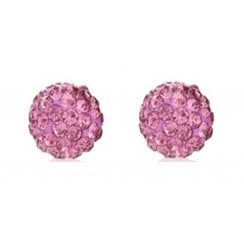 9ct yellow gold 6mm pink crystal glitterball studs