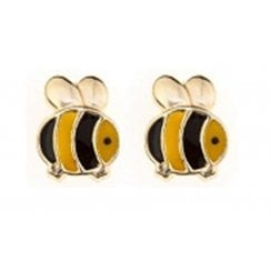 9ct yellow gold enamel bumblebee studs