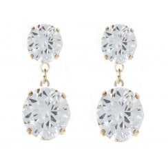 9ct yellow gold double cz claw set drop earrings