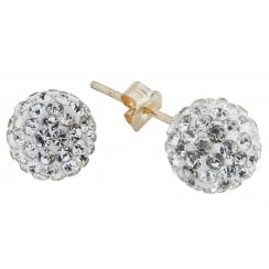9ct yg 6mm crystal ball studs