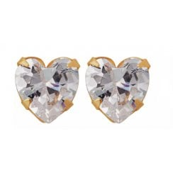 9ct yg 5mm cz heart studs