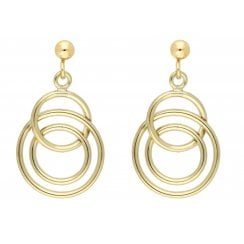 9ct yellow gold multi hoop drop earrings
