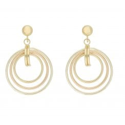 9ct 3 colour gold multi hoop drop earrings