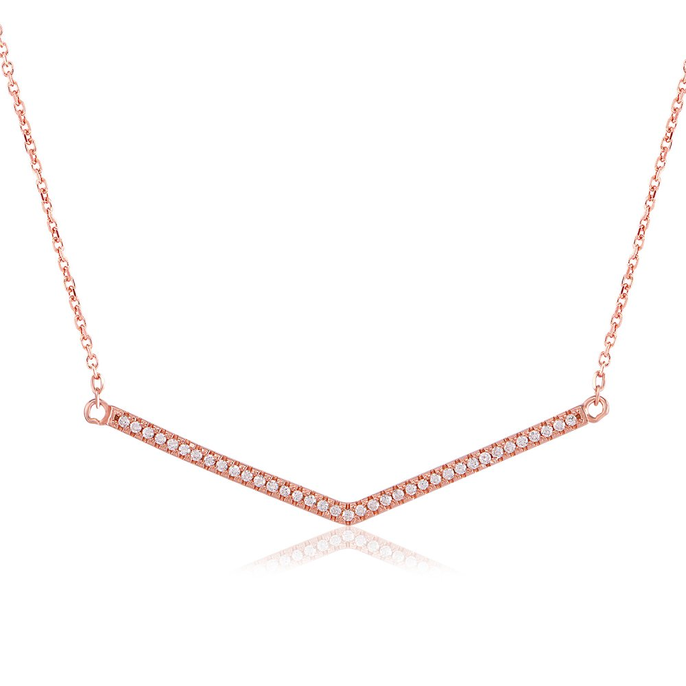 Ingenious Rose Gold Necklace With V Shape Pave Bar Ingenious From Ingenious Jewellery Uk