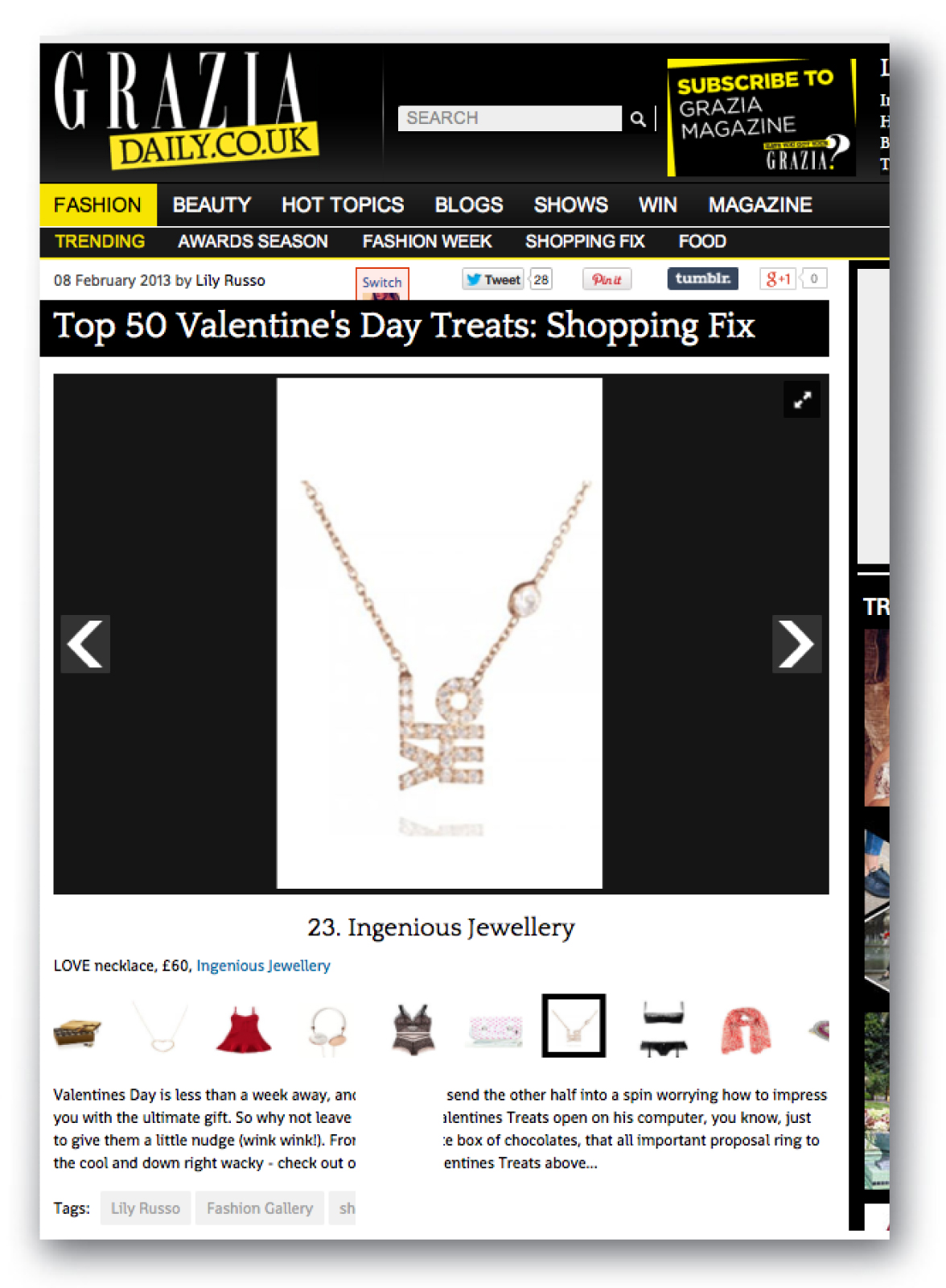 Grazia Daily 8th February 2013 Top 50 Valentine's Day Treats